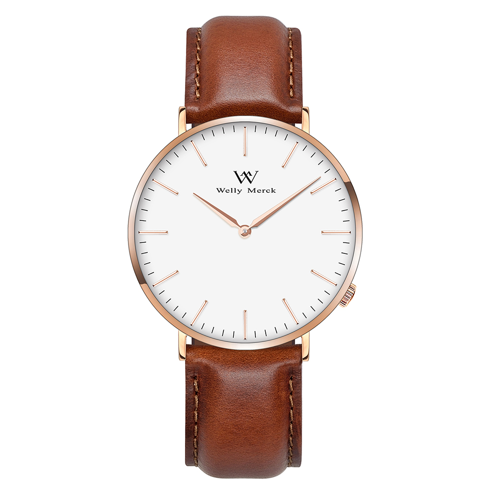 Welly Merck Men Luxury Watch with 20mm Italy Genuine Leather Interchangeable Brown Strap germany merck femibion femibion 13