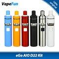 Original joyetech ego kit aio d22 1500 mah batería 2 ml e-líquido capacidad bf ss316 mtl 0.6ohm atomizador cabeza cigarrillo electrónico