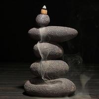 Refluxo queimador de incenso casa decoração retro cerâmica incenso vara titular zen budista aromatherapay censer + 20 pçs cones incenso|Incenso e queimadores| |  -
