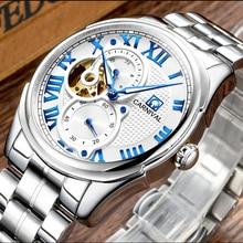 Lujo Carnival reloj hombre esqueleto de plata del zafiro acero inoxidable automático a prueba de agua machin reloj masculino del relogio
