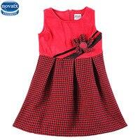 Novatx H5918 usura dei capretti di disegno di modo di alta qualità di lana top griglia velluto a coste bambino girl dress con il fiore autunno abito senza maniche