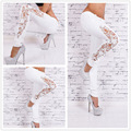 2016 New Arrival Women Jeans Large Size  Lace Slim Splicing Embroidery Full Length Pencil Pants 800393