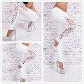 2016 Novas Mulheres Chegada Calça Jeans Tamanho Grande de Renda Slim Splicing Bordado Cheio do Comprimento do Lápis Calças 800393