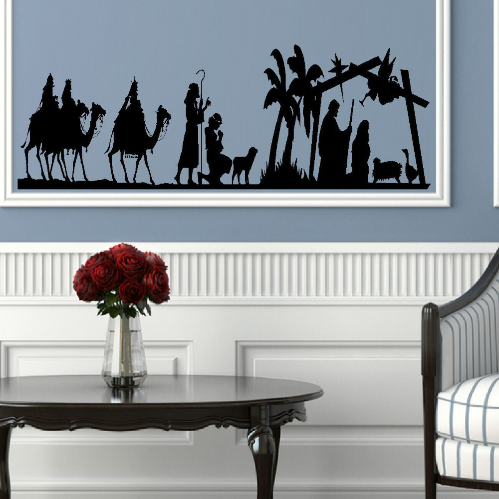 Christmas Xmas Decoration Nativity Scene Manger Wall Sticker Vinyl Decal Diy Home Decoration