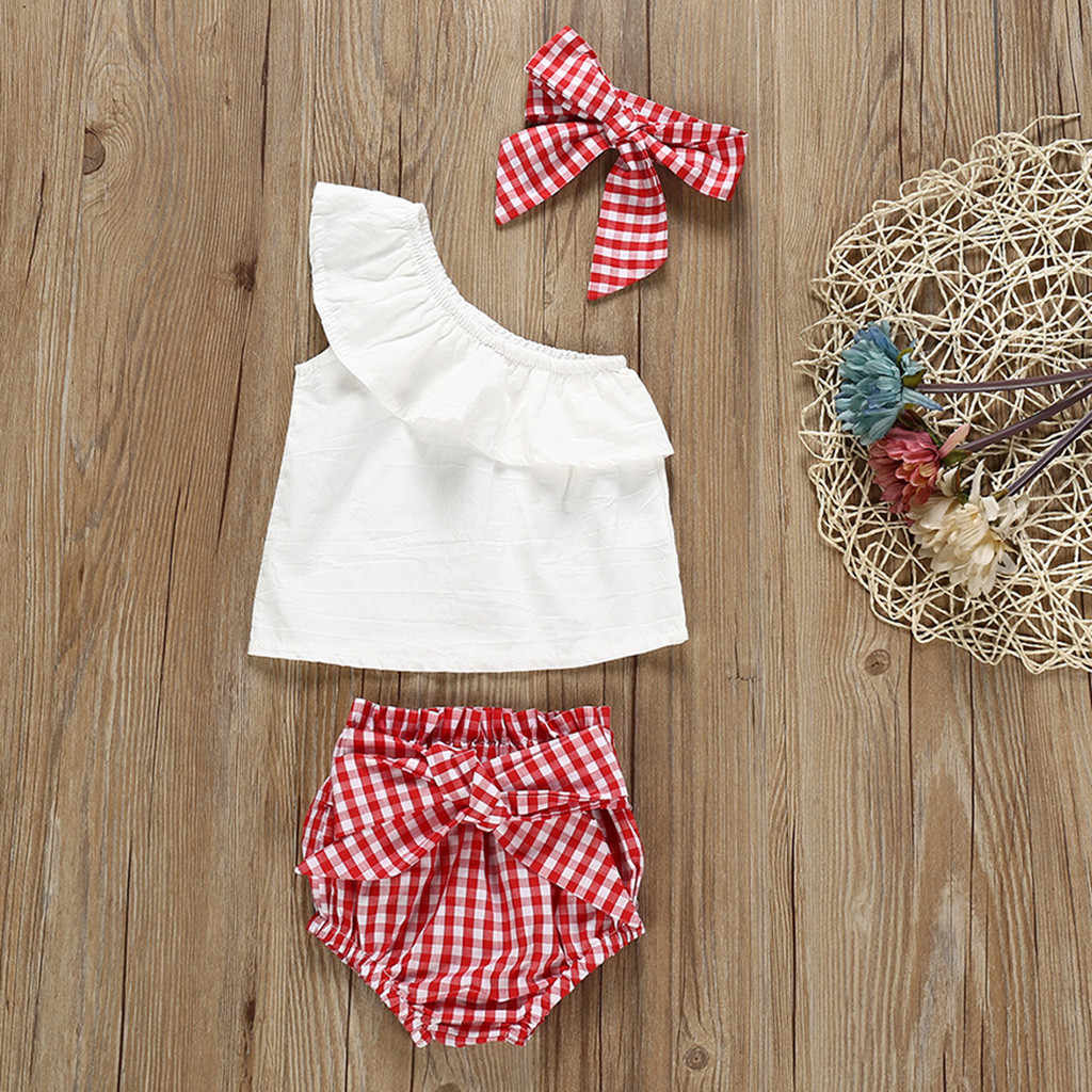 Infant Baby Girls One Shoulder Ruffles Lace white Tops+Bowknot Plaid Shorts+Headband Clothes Outfits Summer Cute Sweet Clothing