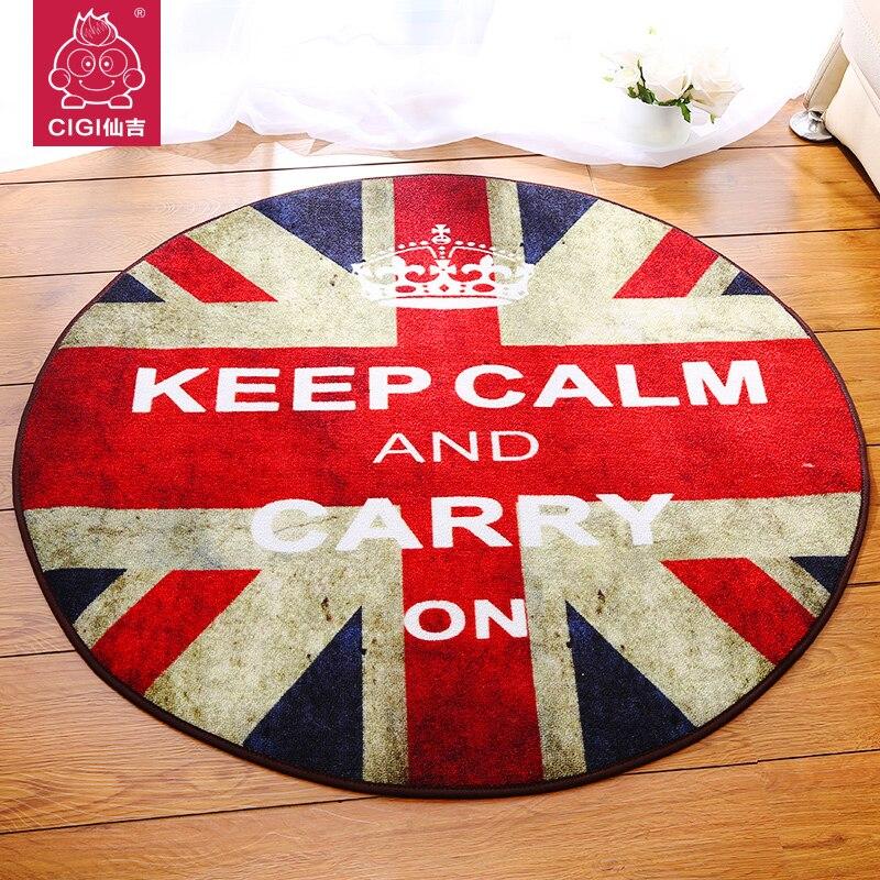 Round British Style Union Jack Carpet Living Room Coffee Table Rug Sofa Blanket Slip Circle Rugs