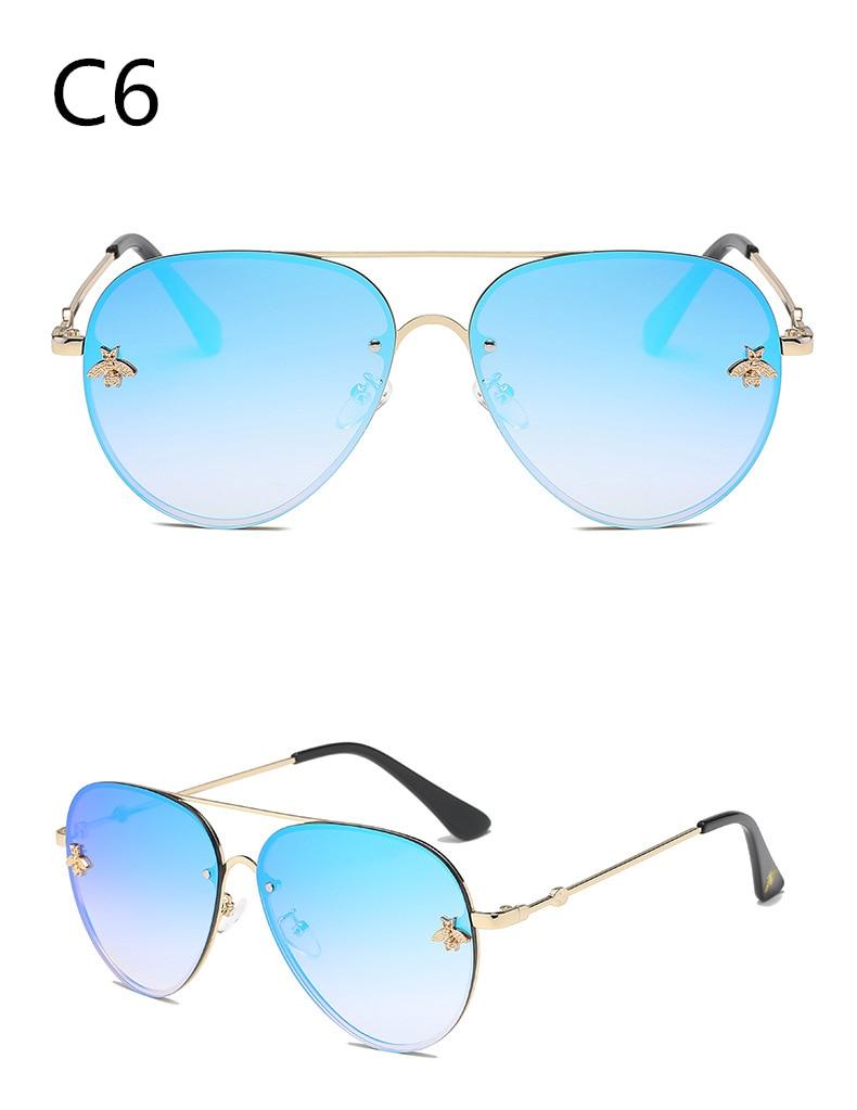 ASOUZ 2019 new fashion ladies sunglasses UV400 metal oval frame bee sunglasses classic brand design sports driving sunglasses (9)
