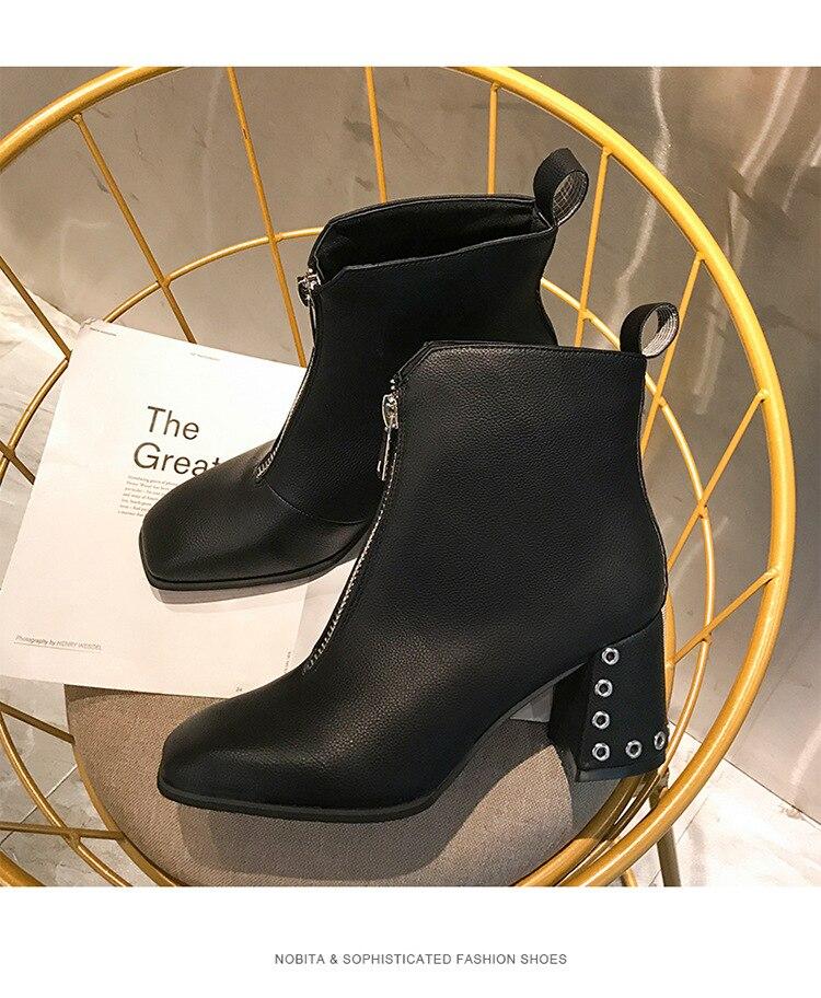 Dames Carré Beige Talon De Glissière Chelsea Orteil Cheville Rivet Solide Martin Chaussures Bottines Femmes noir Sexy Bottes gfIYb6yv7