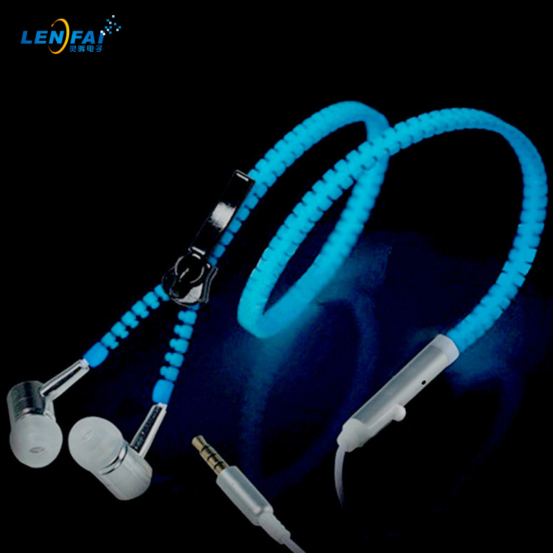 50pcs Glow Earphone Luminous Earbuds Light Metal Zipper Earphones Glowing In The Dark Headset for Xiaomi mi iphone Glow night