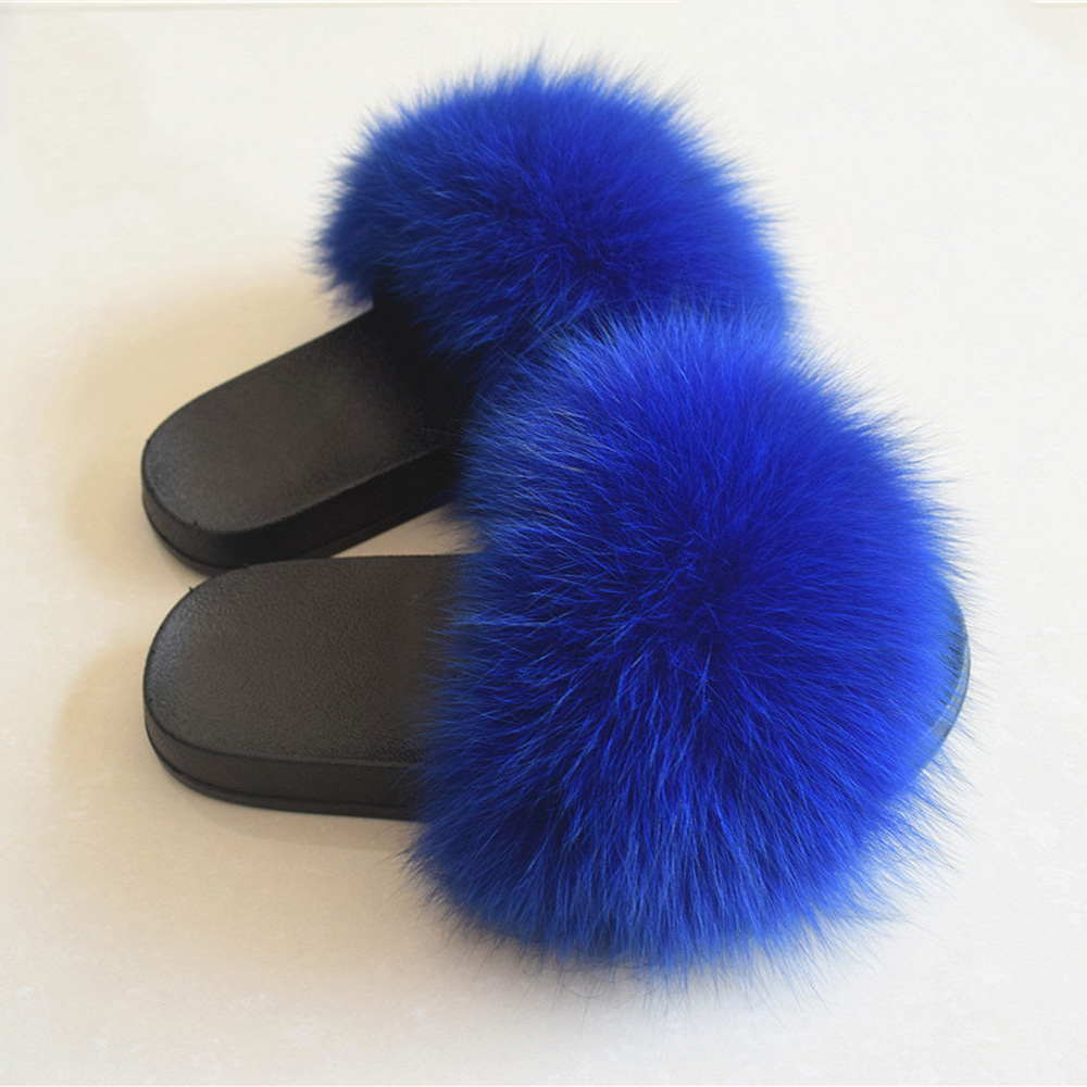 Real Fox Hair Slippers Women Fur Home Fluffy Sliders Winter Plush Furry Summer Flats Sweet Ladies Shoes Large Size 45 PantufasReal Fox Hair Slippers Women Fur Home Fluffy Sliders Winter Plush Furry Summer Flats Sweet Ladies Shoes Large Size 45 Pantufas