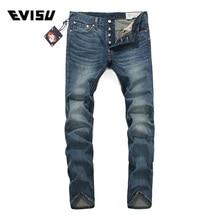 Evisu 2018 Men hipster jeans Casual Fashion Trousers Zipper Men Pockets Jeans Straight Long Classic Blue Jeans For Men 3042