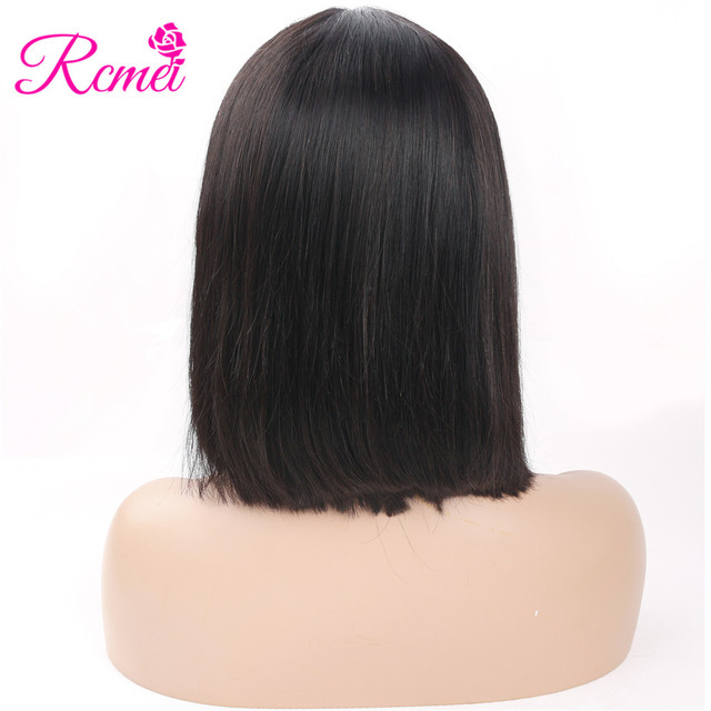 Rcmei Brazilian Straight 13*4 Lace Frontal Closure 100% Human Hair Wigs For Black Women Natural Color Non-Remy Hair Extensions