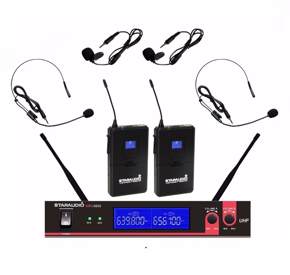 STARAUDIO SMU-0202B Professional 1 Set 2CH  UHF Wireless Lapel Headset Microphone  System for Stage Karaoke Church KTV new type true diversity em2500 em3032 wireless microphone system for stage karaoke 2 performances