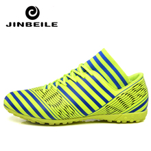 Brand 2018 TF Football Shoes Ankle Mens Training Soccer Boots Non-slip Futsal Sock Cleats Sport Sneakers