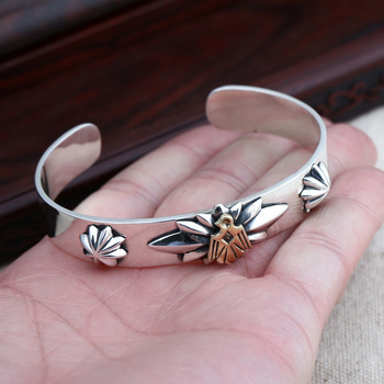 S925 Sterling Silver Jewelry Retro Thai Silver Men And Women Fashion Simple Flower Golden Eagle Personalized Open Ended Bangle