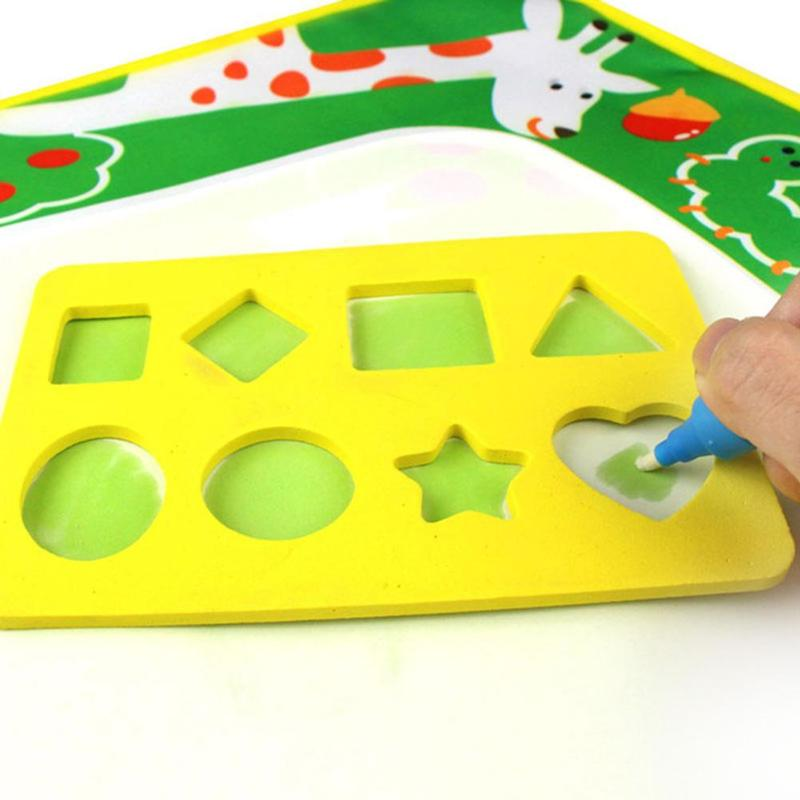 Water Painting Puzzle Cartoon EVA Stamp/Seal Small Water Canvas Assistant Educational Learning Painting Toy Gifts For Children