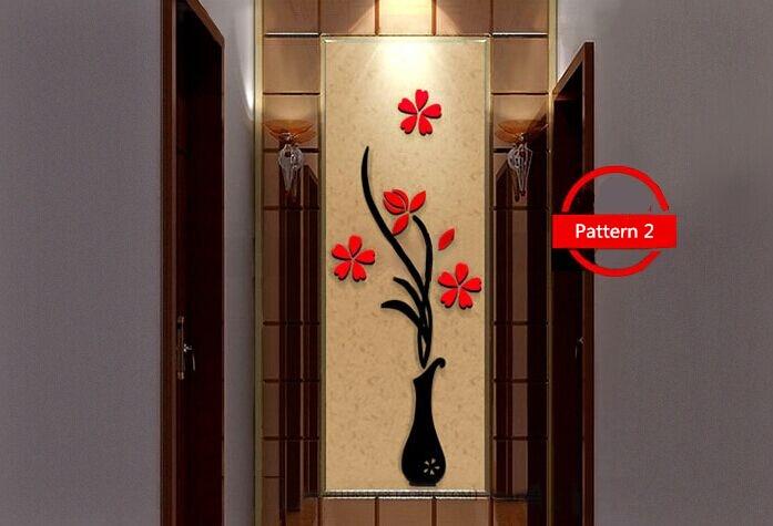 Купить с кэшбэком 5 Size Colorful Flower Vase 3D Acrylic Wall Sticker DIY Art Wall Poster Home Decoration Bedroom Decrative Wall Stickers