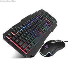 Mechanical Keyboard Mouse Set USB Wired Computer Gaming Keyboard Backlit Mice for Laptop PC Gaming Gamer Player Equipment Kit Ac 1st player firerose mk3 mechanical gaming keyboard with usb floating switch powered for game computer desktop laptop