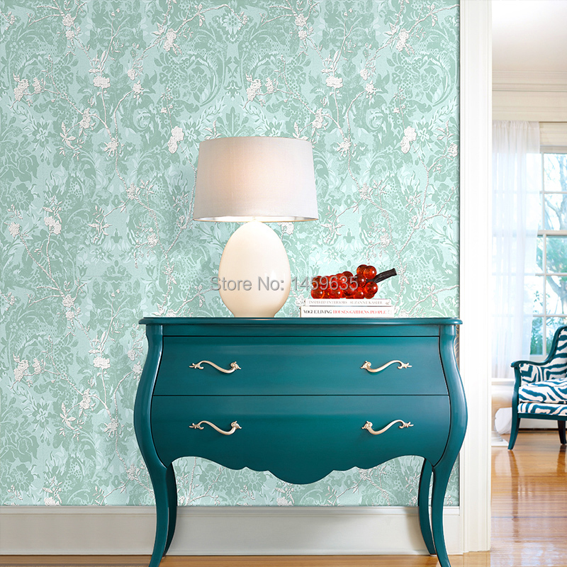 Non-woven wallpaper 6 colors living room bedroom backdrop wallpaper classical Chinese green wallpaper wallpaper wall paper