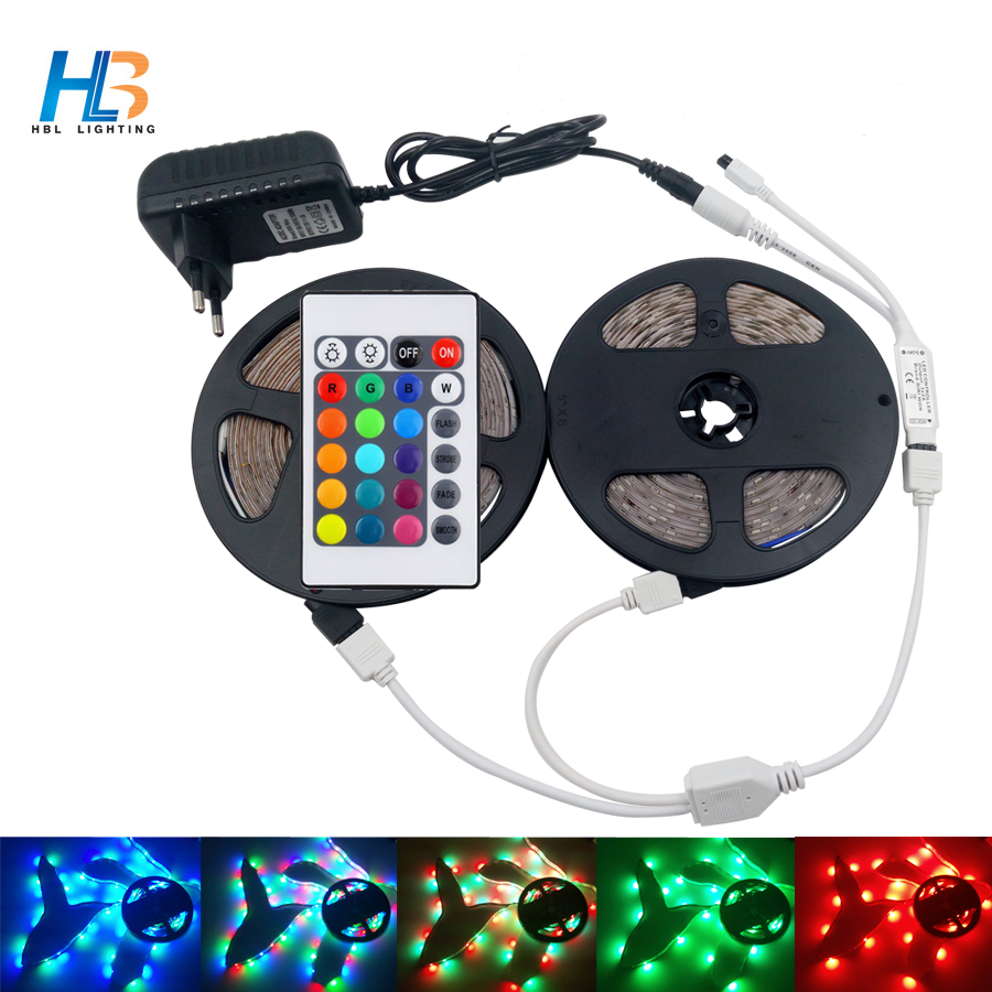 HBL RGB led strip 2835 Waterproof led tape flexible led tape 24 key IR Remote controller +DC Power supply for home decoration