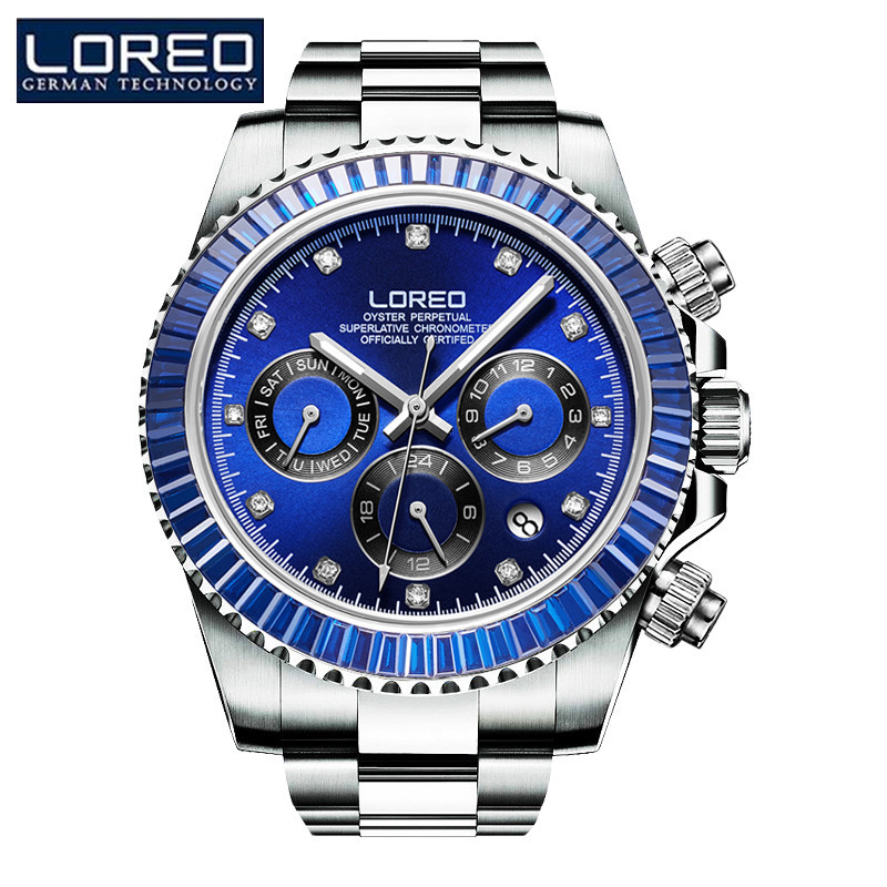 LOREO Brand Sport Watch Men Luxury Skeleton Stainless Steel Mechanical Wristwatch Mens Fashion Luxury Men Dress Watch J86 ik luxury fashion casual stainless steel men automatic mechanical watch skeleton watch for men s dress wristwatch free ship