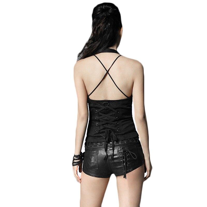 Con 2017 Black Manette Giubbotti Slim Gotico Panciotto Coset Estate Disegni Fit Maglia Sexy Nero Modello Moda Punk Del Delle Donne Di RxB64wqpa