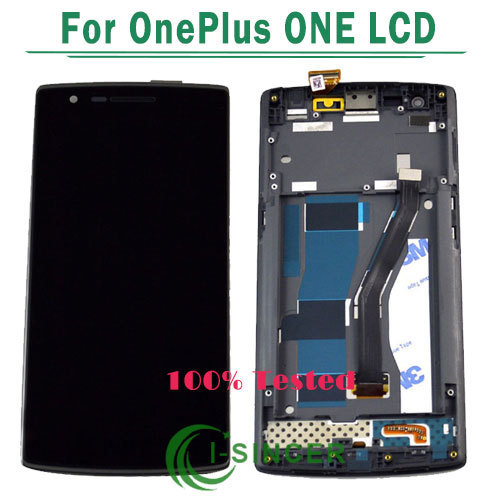 1/pcs para oneplus one screen display lcd de toque digitador da tela com montagem de quadro de 1 + one plus one lcd tela preta