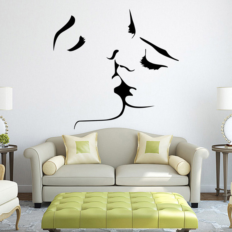 amante romntico beso mural removible etiqueta de la pared del arte del vinilo home room decor etiqueta de la pared poster casa sof decoracin de la pared