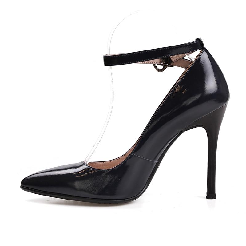 scarpe tacchi scarpe Strap spillo basse a vera Wetkiss Black Fashion in a Donna Ufficio punta pelle Pumps Ankle 6Iyy1B