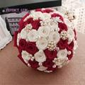 96 color Elegante Personalizada Broche de Perlas Rosas De Seda Ramo de Novia de La Boda Con La Perla, Boda Romántica de La Novia Colorida's Ramo