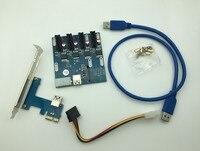 NEW Blue PCIe 1 To 4 PCI Express 1X Slots Riser Card Mini ITX To External