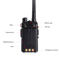 "uv 5r שתי דרך רדיו כף יד ציד VHF & UHF 5W המקצועיים Band Dual מכשיר קשר UV-5R Baofeng המקורי מקמ""ש HF (3)"