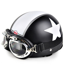 Hot Motor Scooter Motorcycle motocross capacete Open Face Half Matted Black Stars Helmet & Goggles Free Shipping