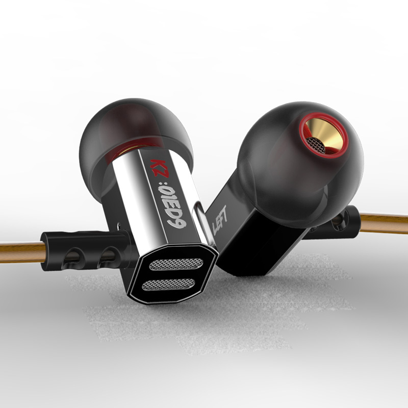 Original KZ ED9 In Ear Stereo Earphones with Mic Phone Metal HIFI Earbuds DJ Bass Noise Isolating Headset Drive Unit Earbuds ufo pro metal in ear earphones treadmill female drug sing karaoke audio headset diy mobile phone