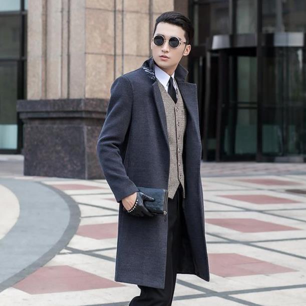 Grey Casual Woolen Coat Men No Button Trench Coats