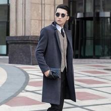 Grey casual woolen coat men no button trench coats overcoat mens cashmere coat casaco masculino inverno england men's clothing