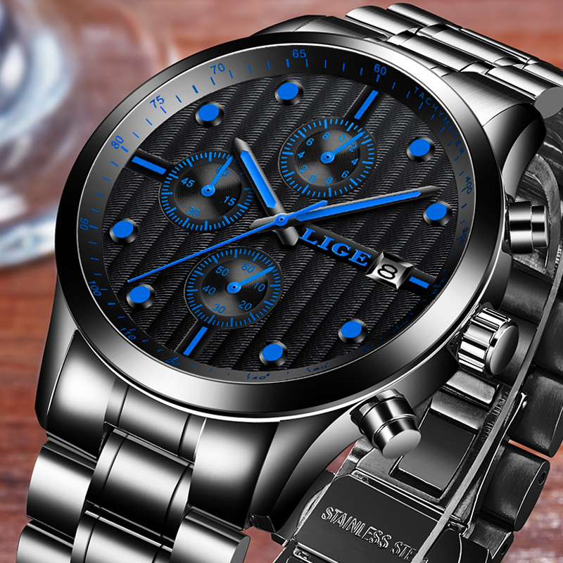 LIGE Waterproof Sport Watch Men Quartz Full Steel Clock Mens Watches Top Brand Luxury Business Wrist Watch Man Relogio Masculino lige mens watches top brand luxury man fashion business quartz watch men sport full steel waterproof clock erkek kol saati box