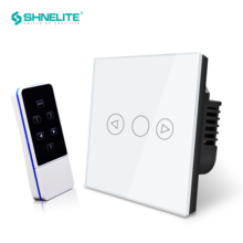 EU Remote Touch Dimmer Control Wall Light Switch, White Crystal Luxury Glass panel Switch,220V interruptor touch RF433hz