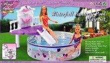 바비 공주 인형에 대한 정품 수영 액세서리 수영장 하우스 게임 가구 놀이터 1/6 bjd 인형 풀 장난감 선물