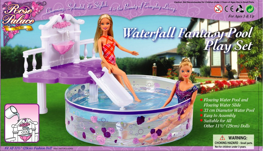 genuine swim accessories for barbie princess doll swimming pool house games furniture playground 1/6 bjd doll pool toy giftDolls Accessories   -