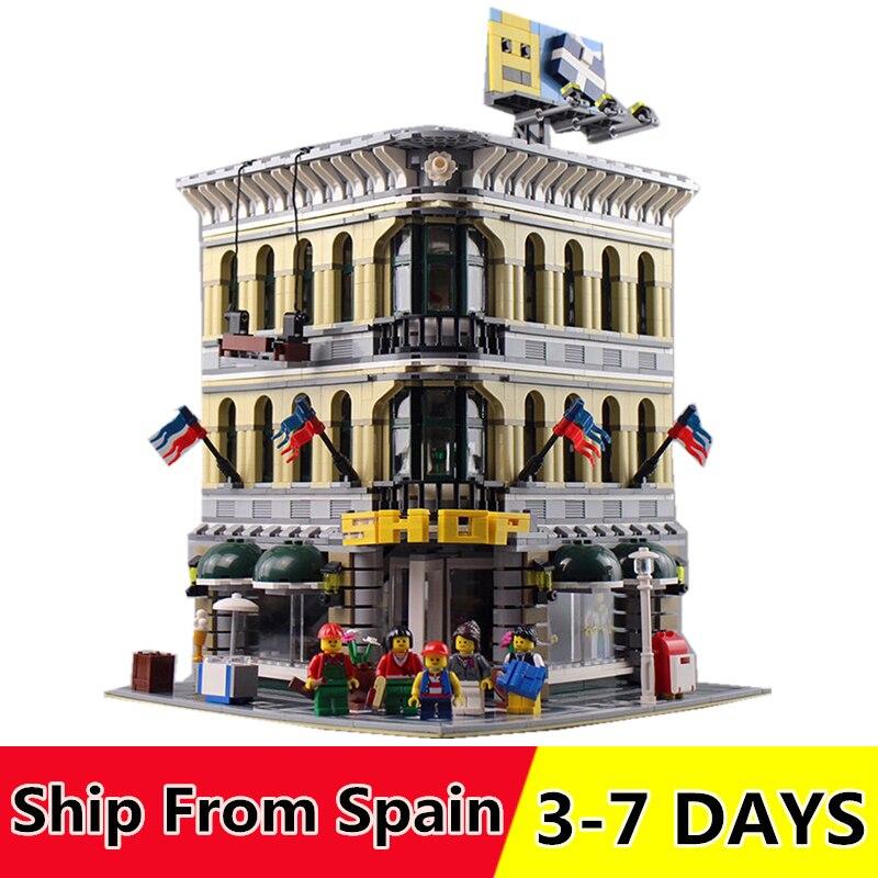 Oyuncaklar ve Hobi Ürünleri'ten Bloklar'de 15005 15042 Şehir Creator Grand Emporium Modeli Yapı Taşları Uyumlu 10211 10264 Sokak Serisi noel hediyesi'da  Grup 1
