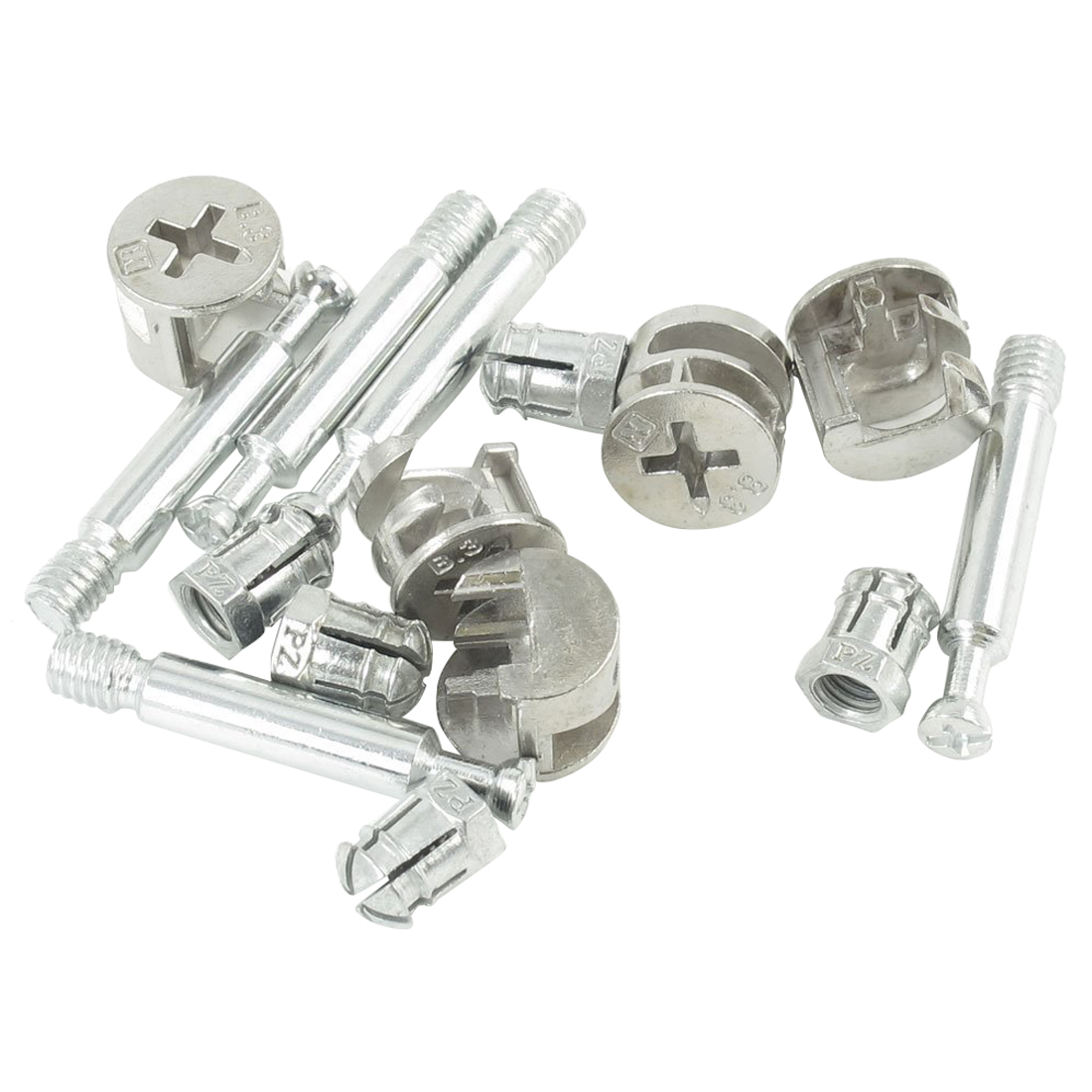 "5 Sets Furniture Connector 0.55"" Dia Cam Fittings Pre-inserted Nuts Dowels"