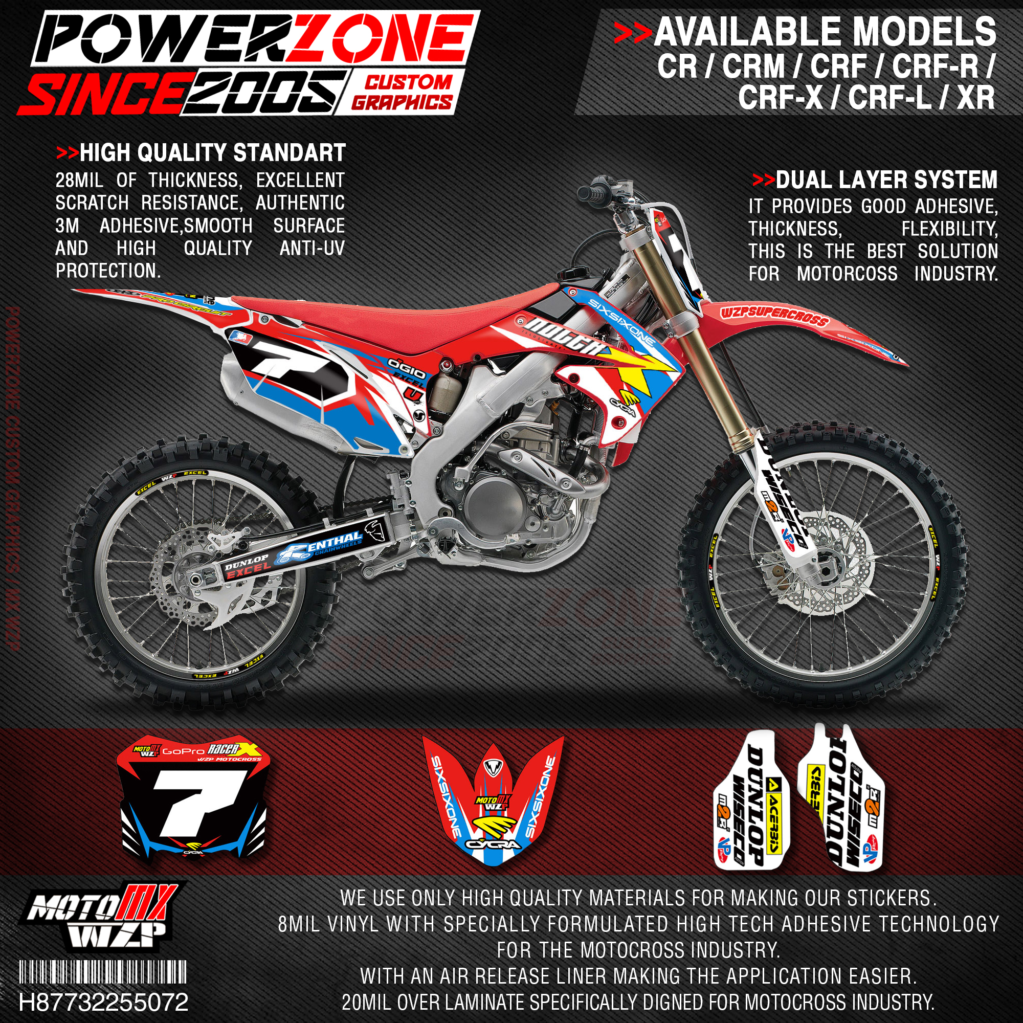 PowerZone Custom Team Graphics Backgrounds Decals 3M Stickers Kit For HONDA CRF250R 2010-2013 CRF450R 2009-2012 072