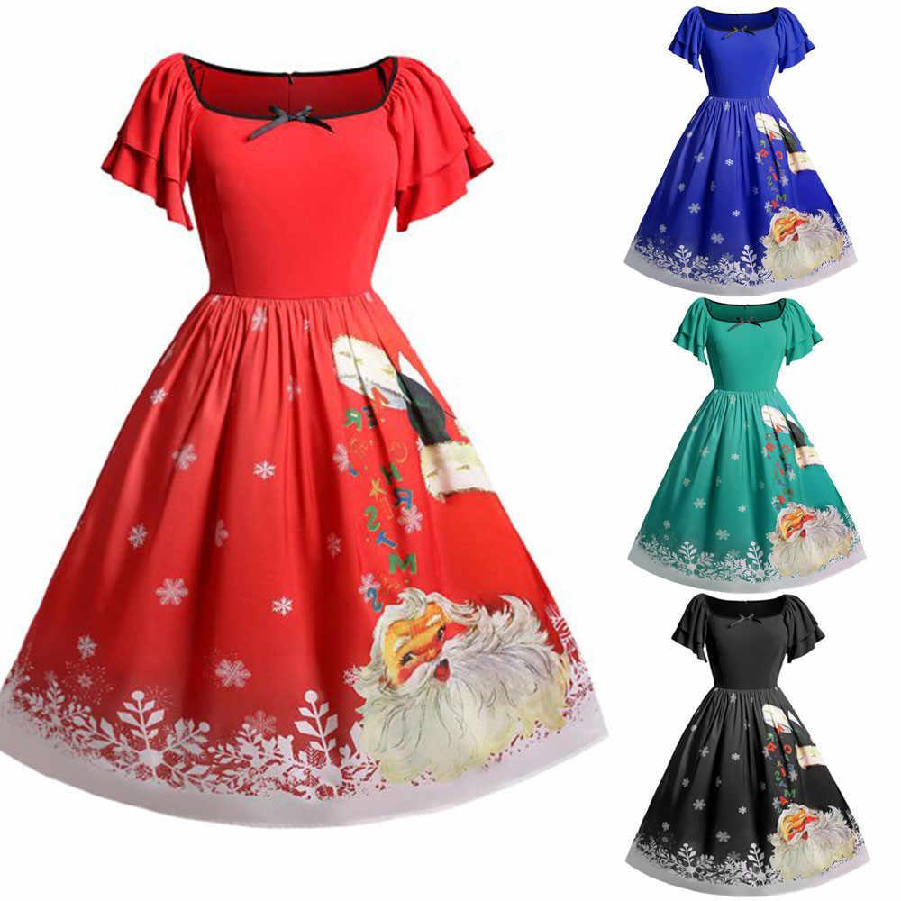 f9b472e6d01e8 Women Christmas Plus Size Bow Santa Claus Print Vintage Dress chrismas dress  women dress vestidos
