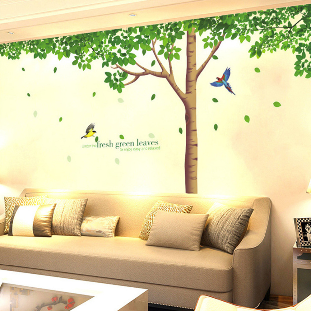 Big tree birds wall stickers decor waterproof living room for Big tree with bird wall decal deco art sticker mural