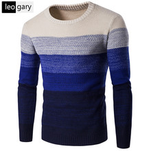 European Style Men's O-neck Sweater Winter Warm Cashmere Knitted Pullovers Long Sleeve Patchwork Design Men Sweaters
