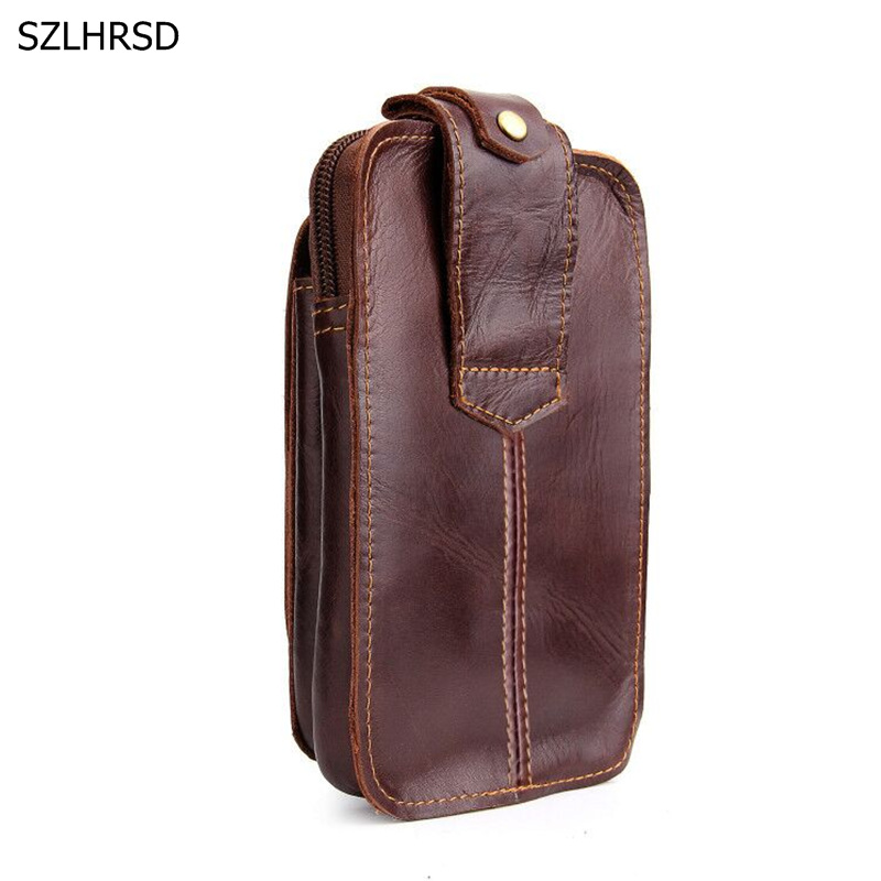 Genuine Cow Leather Mini Casual Bag Men&#8217;s Waist Belt Bags Purses Wallet <font><b>Case</b></font> Cover Holder For <font><b>Nokia</b></font> For VKworld Mobile <font><b>Phone</b></font>
