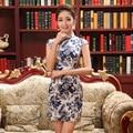 Summer Flower Women Chinese Traditional Dress Short Slim Female Qipao Mini Sleevless Vestido Chinese Cheongsam Dress 18