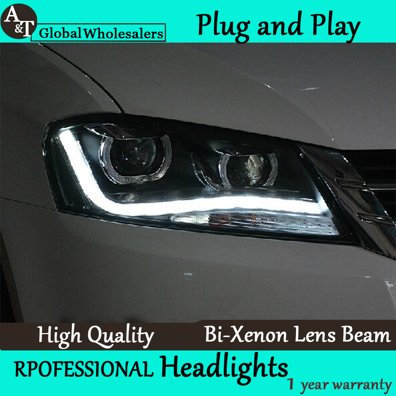 Car Styling for VW Passat B7 LED Headlight assembly Europe Version LED DRL Lens Double Beam H7 with hid kit 2pcs.