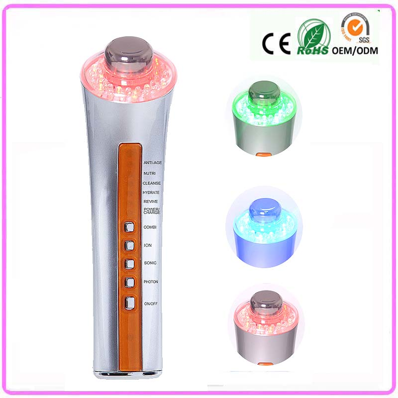 Home use Ultrasonic Galvanic ion Skin Cleansing Anti-Aging Acne Wrinkle Remove PDT Light Led Photon Therapy Face Beauty Device anti acne pigment removal photon led light therapy facial beauty salon skin care treatment massager machine